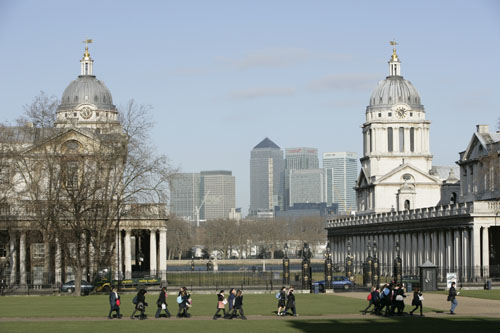 University of Greenwich - Clock Towers with Canary Wharf in background